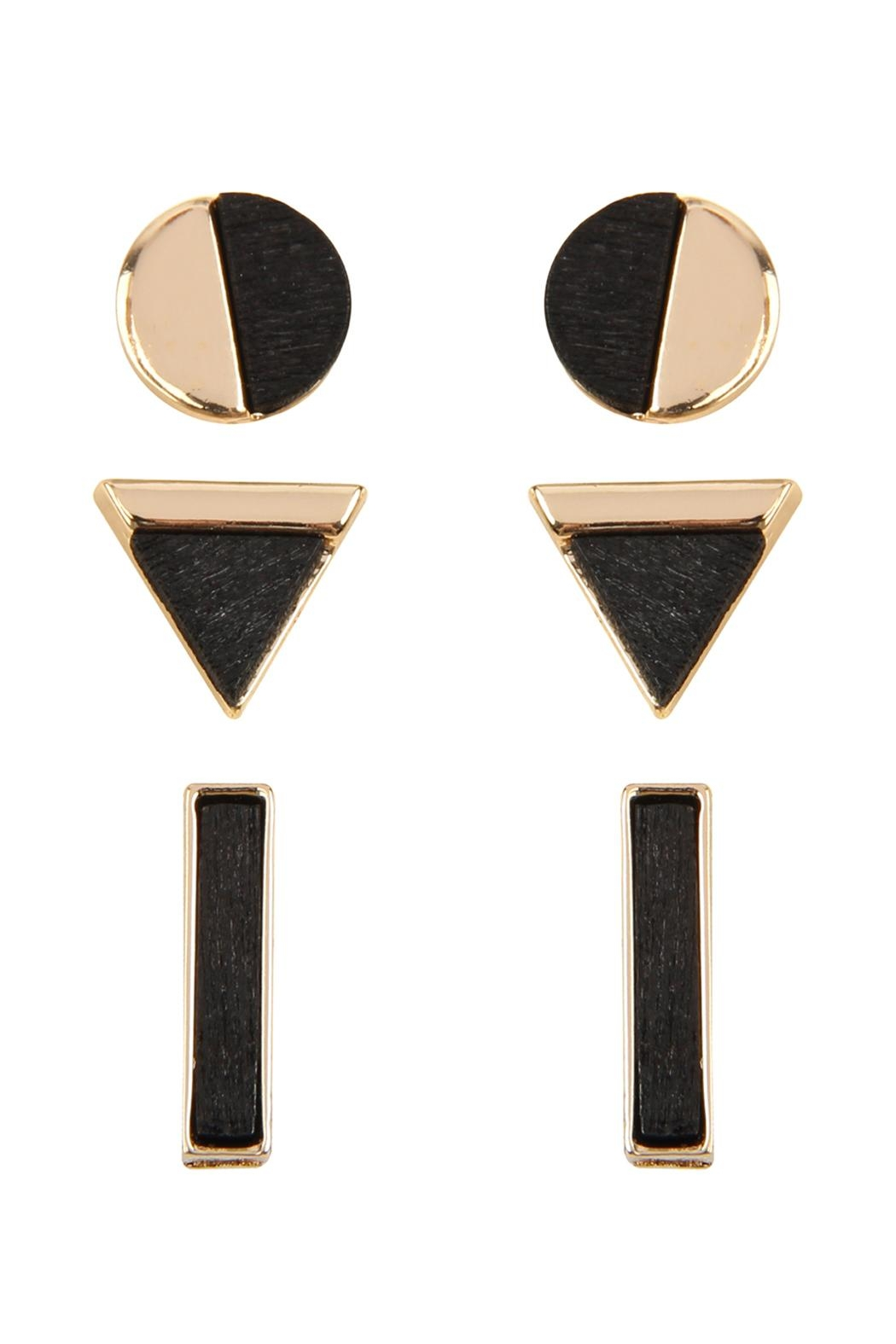 Riah Fashion Wood Detailed Studs - Front Cropped Image