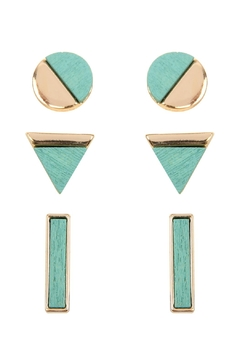 Riah Fashion Wood Detailed Studs - Product List Image