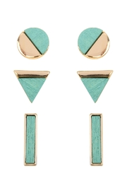 Riah Fashion Wood Detailed Studs - Front cropped