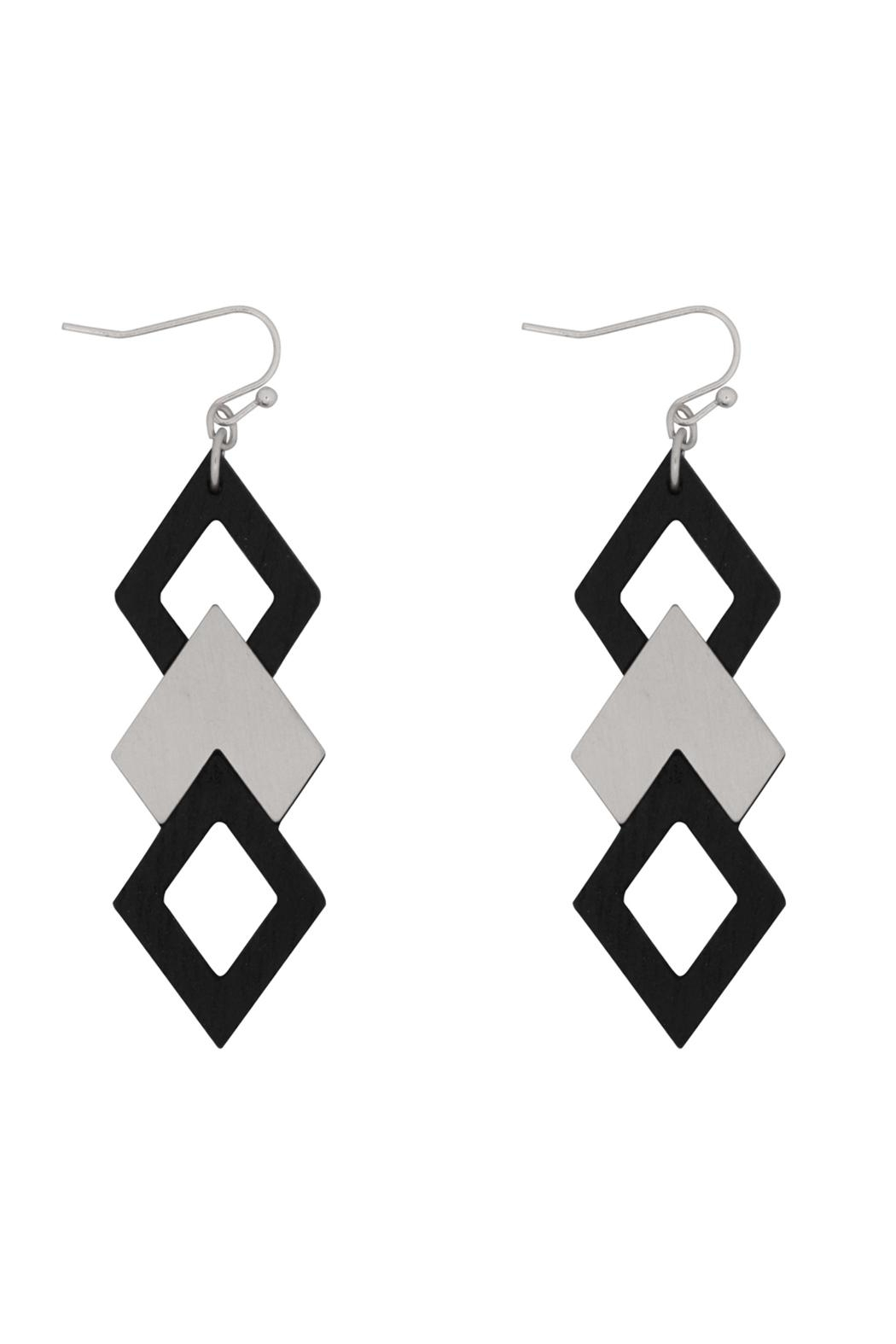 Riah Fashion Wood Satin Earrings - Front Cropped Image