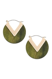 Riah Fashion Wood With-Metal-Point Hoop-Earrings - Product Mini Image