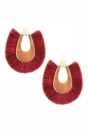 Riah Fashion Wood With-Thread Tassel-Post-Earrings - Product Mini Image