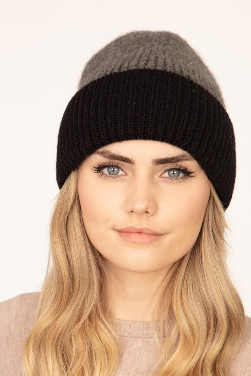 Riah Fashion Wool-Blended-Two-Tone-Solid-Beanie - Front Cropped Image