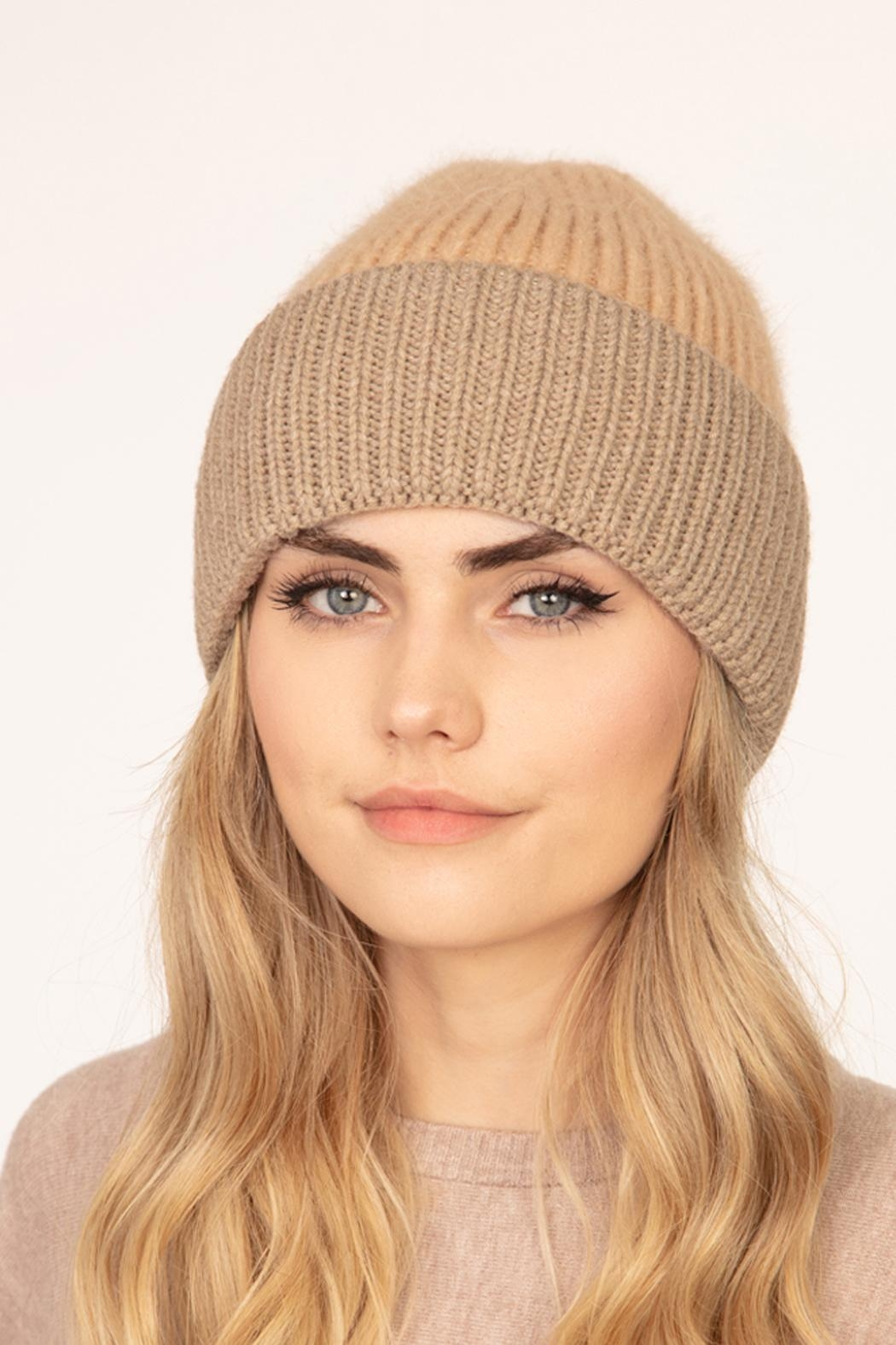Riah Fashion Wool-Blended-Two-Tone-Solid-Beanie - Main Image