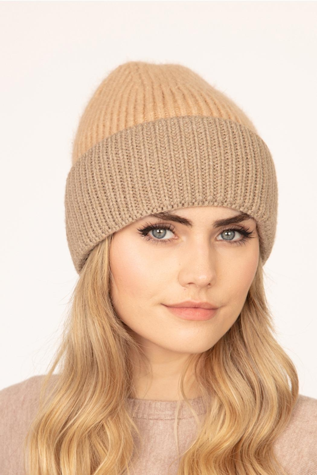 Riah Fashion Wool-Blended-Two-Tone-Solid-Beanie - Front Full Image