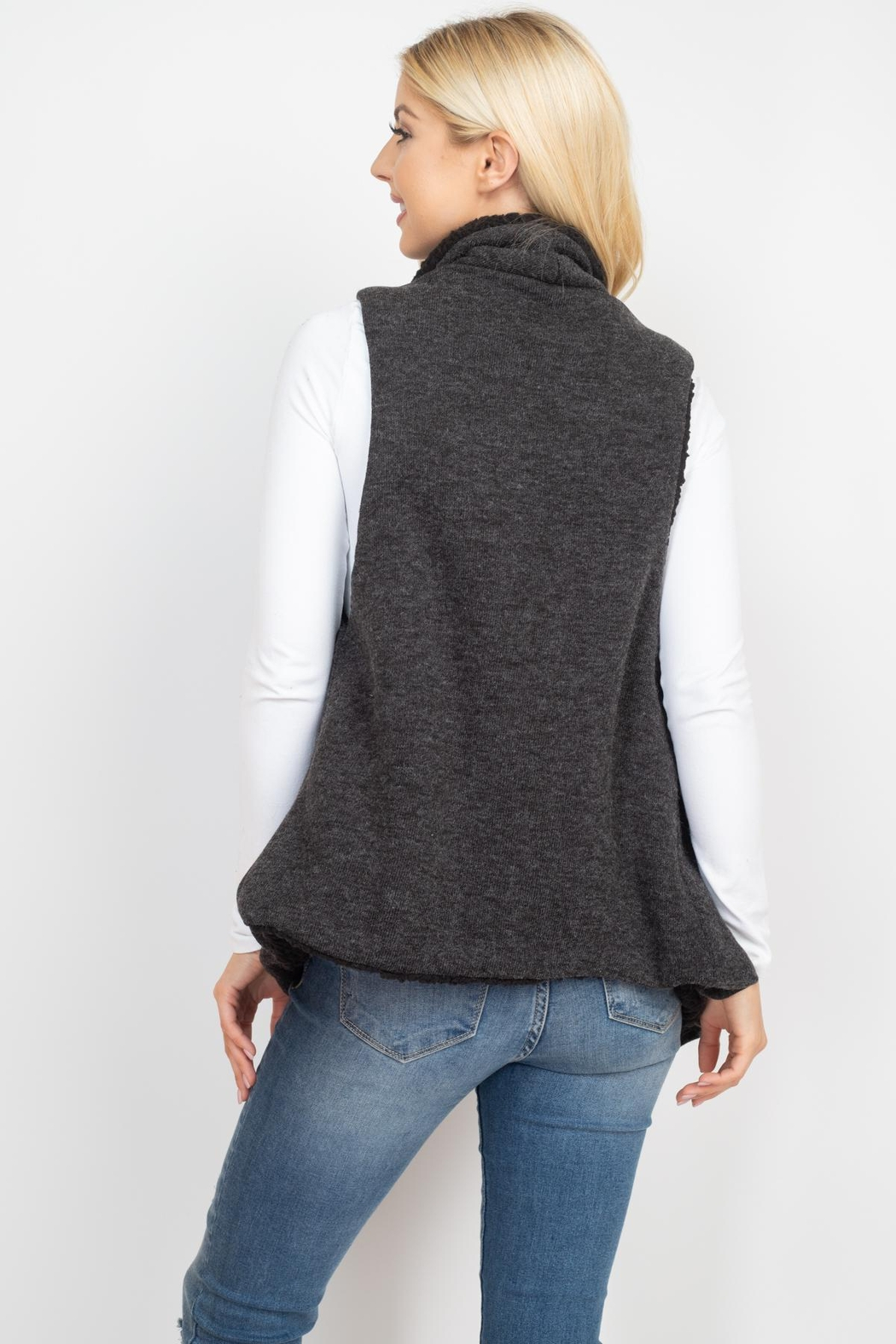 Riah Fashion Wool-Shawl-Vest-With-Pocket - Front Full Image
