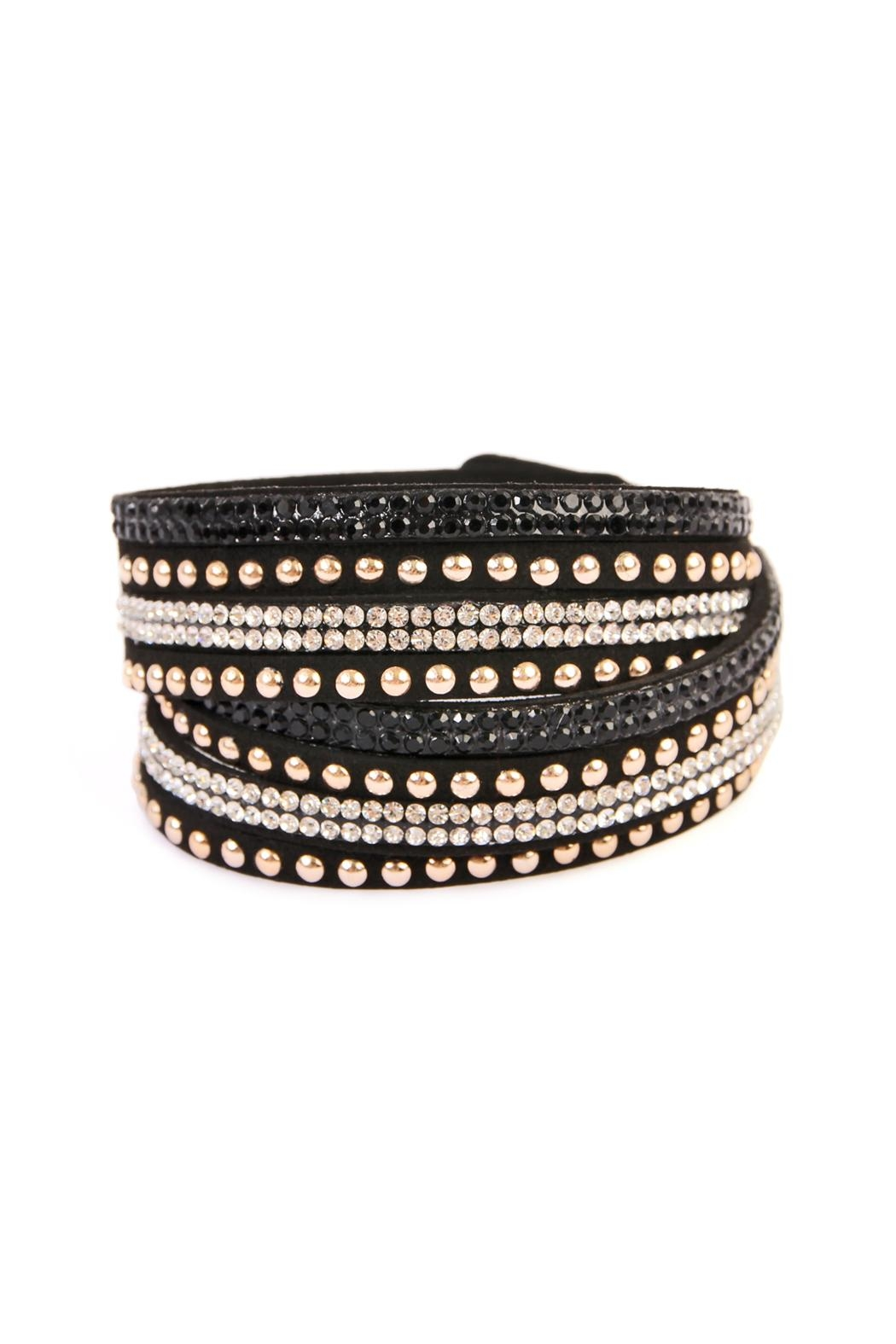 Riah Fashion Black Wrap Around Bracelet - Main Image