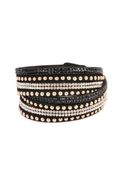 Riah Fashion Black Wrap Around Bracelet - Front cropped