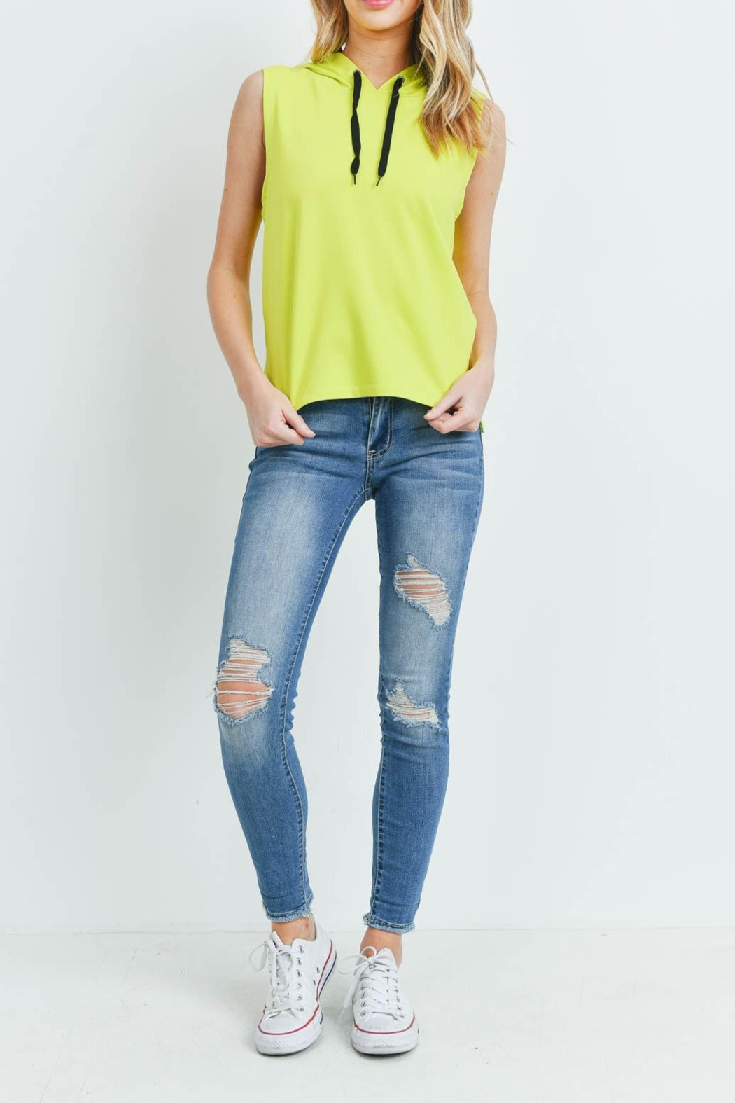 Riah Fashion Yellow-Lime-Top - Side Cropped Image