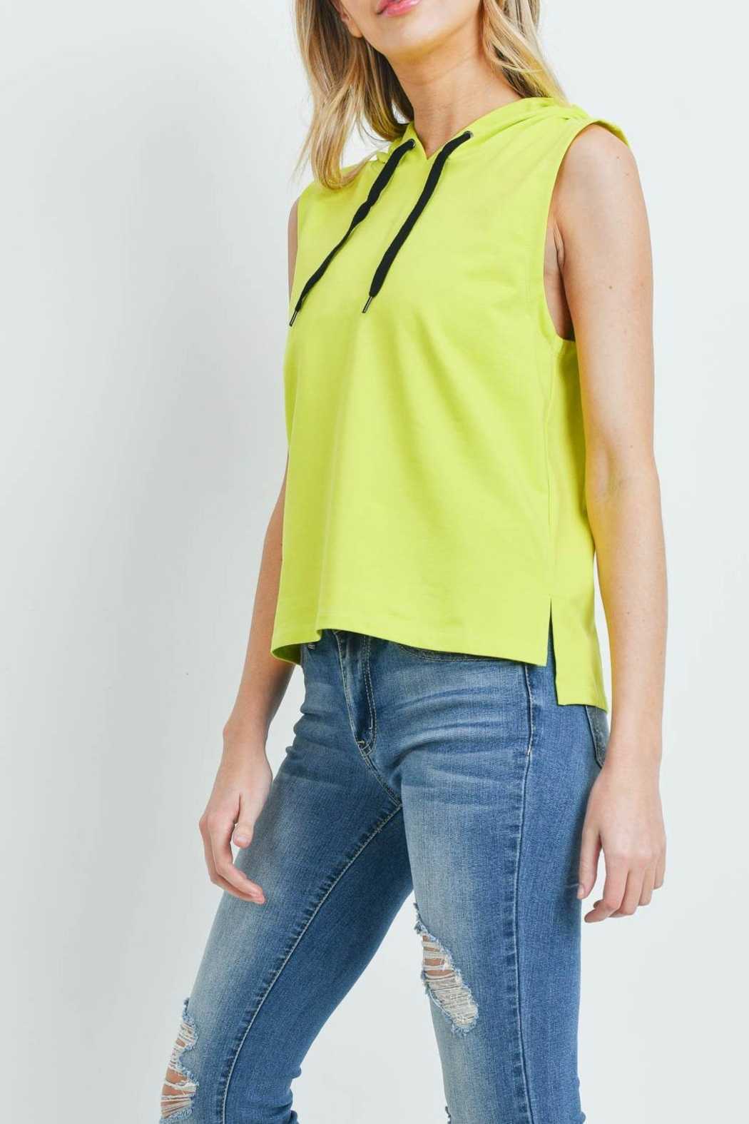 Riah Fashion Yellow-Lime-Top - Front Cropped Image