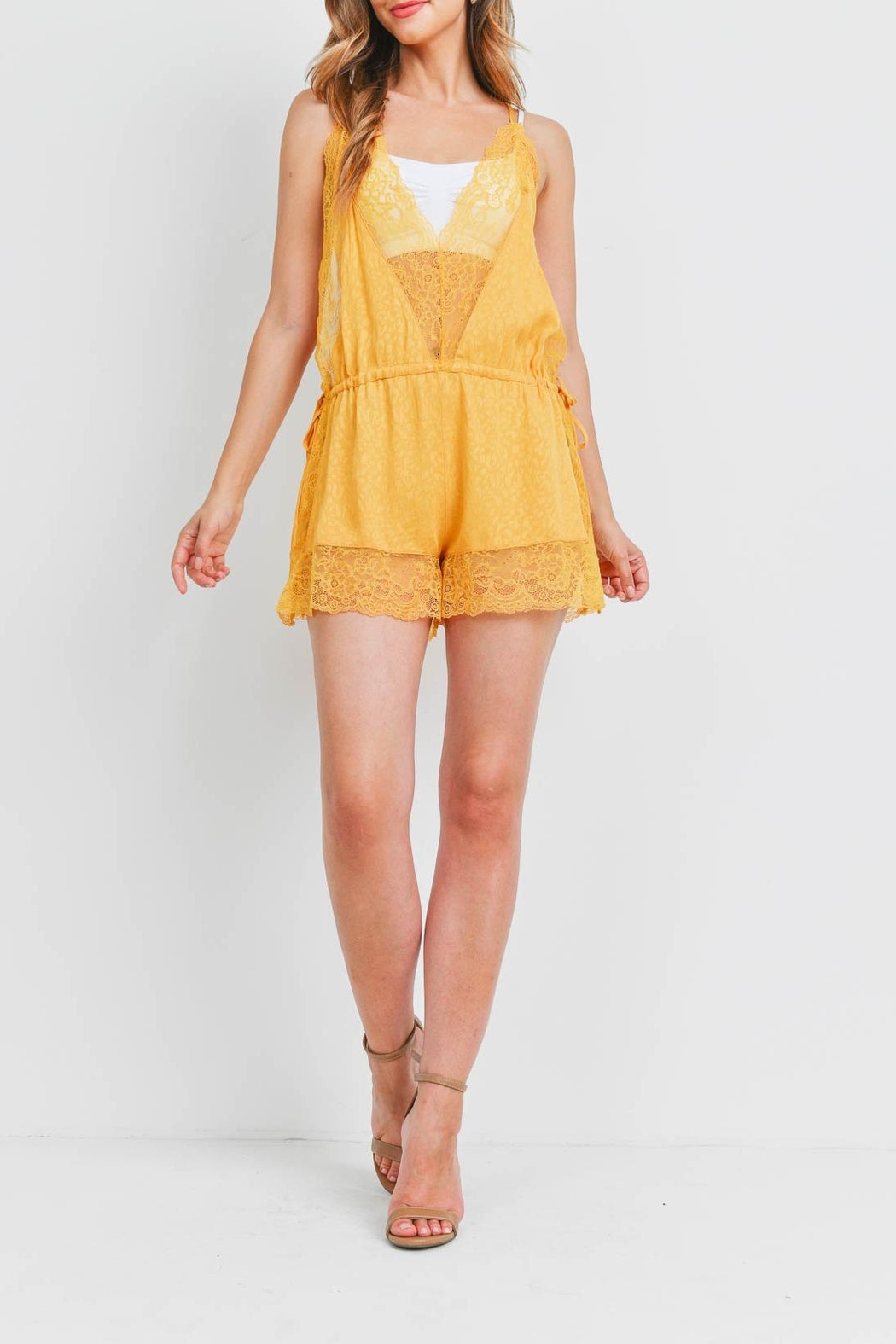 Riah Fashion Yellow Romper - Side Cropped Image