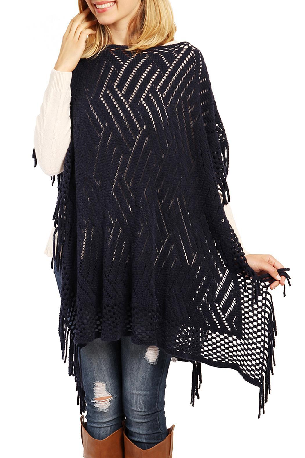 Riah Fashion Zig Zag Poncho - Main Image