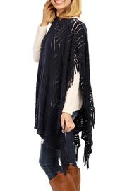 Riah Fashion Zig Zag Poncho - Front full body