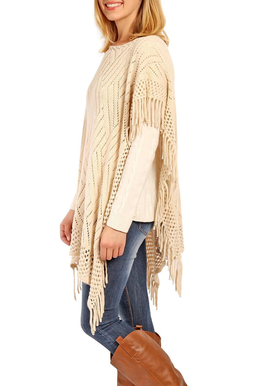 Riah Fashion Zig Zag Poncho - Back Cropped Image