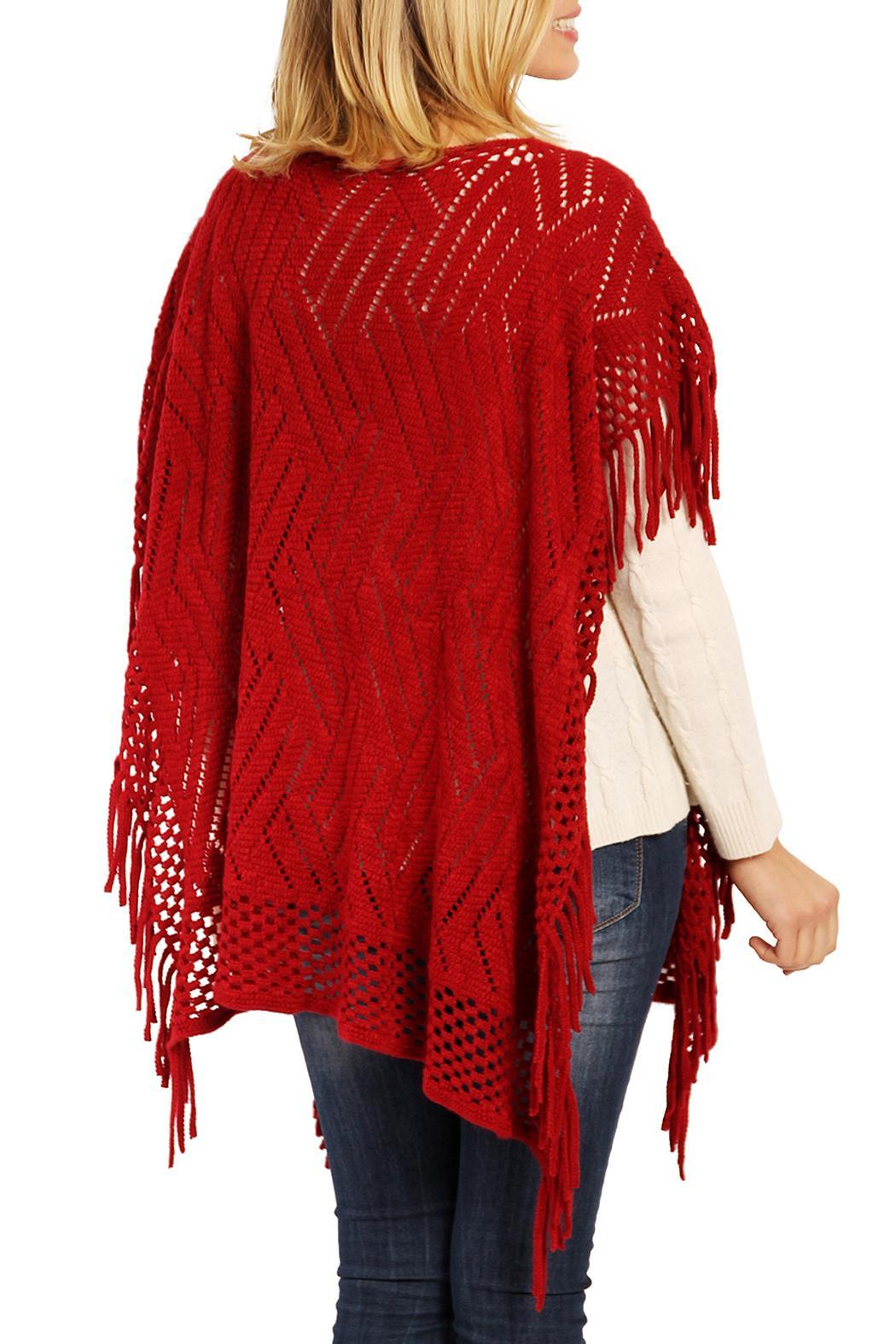 Riah Fashion Zig Zag Poncho - Side Cropped Image