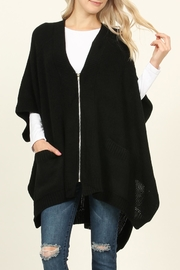 Riah Fashion Zippered Dolman Sleeve Poncho - Front cropped