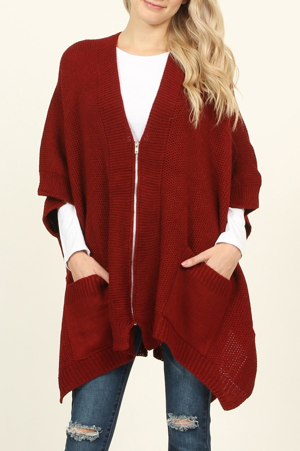 Riah Fashion Zippered Dolman Sleeve Poncho - Front Cropped Image