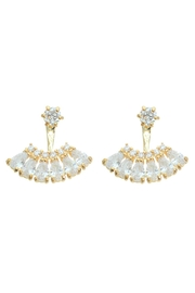 Riah Fashion Zirconia Fan Earrings - Product Mini Image