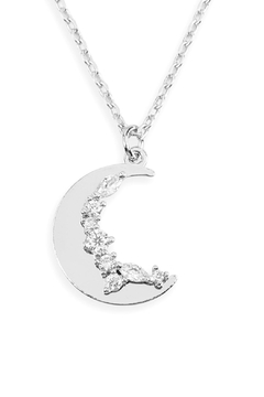 Riah Fashion Zirconia Moon Pendant Necklace - Product List Image