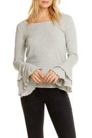 Chaser Rib Double Ruffle Sleeve Top - Product Mini Image