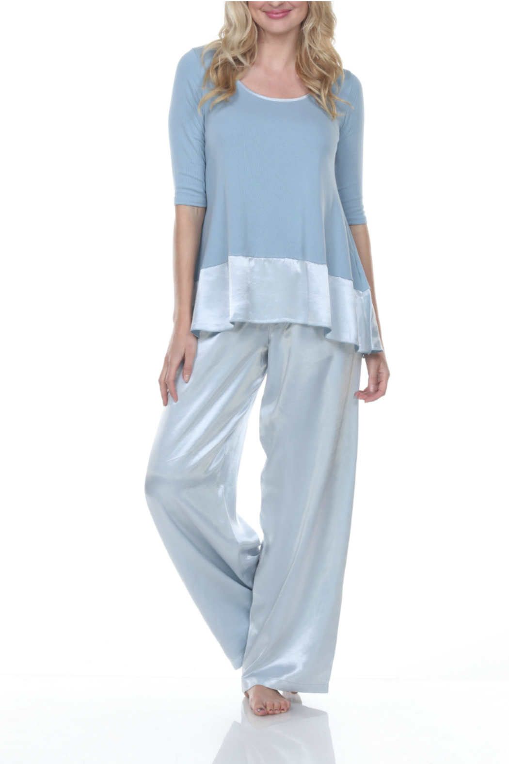 PJHARLOW Rib Knit 3/4 Sleeve Swing Top With Satin Trim - Main Image