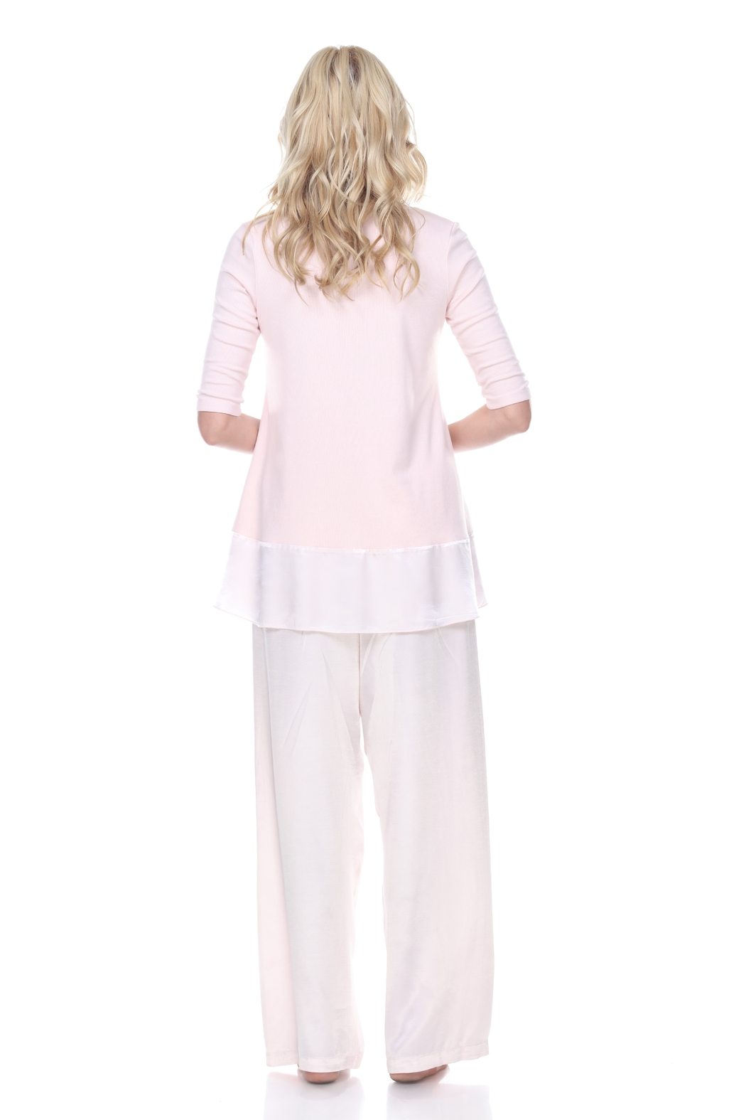 PJHARLOW Rib Knit 3/4 Sleeve Swing Top With Satin Trim - Front Full Image
