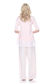 PJHARLOW Rib Knit 3/4 Sleeve Swing Top With Satin Trim - Front full body