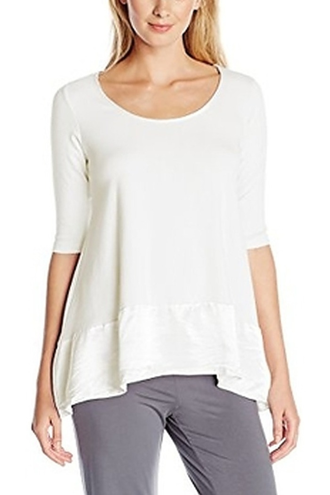 PJHARLOW Rib Knit 3/4 Sleeve Swing Top With Satin Trim - Front Cropped Image