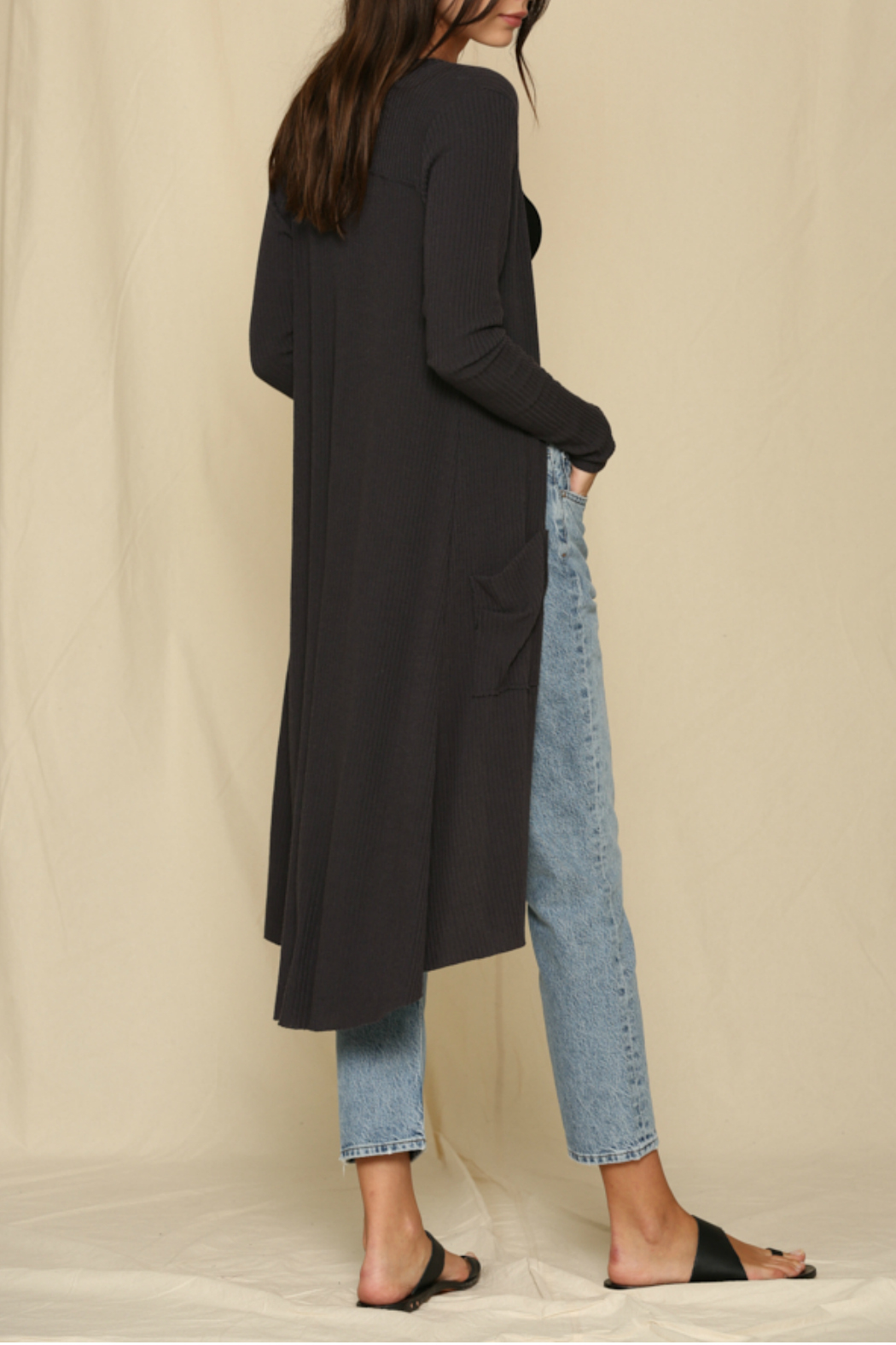 By Together  Rib Knit Long Cardigan - Front Full Image