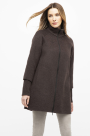 Kinross Cashmere RIB SLEEVE ZIP MOCK COAT - Product Mini Image