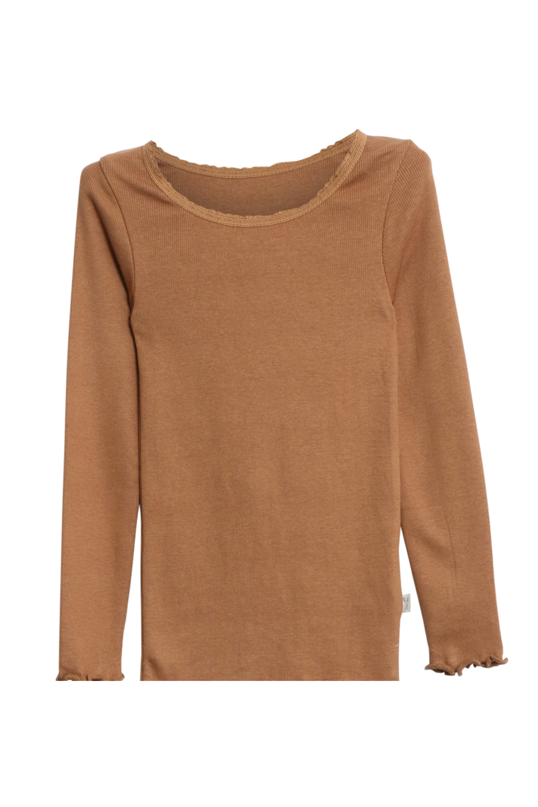 Wheat Rib T-Shirt Lace LS Caramel - Front Cropped Image