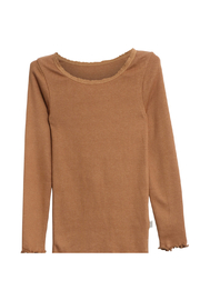 Wheat Rib T-Shirt Lace LS Caramel - Front cropped
