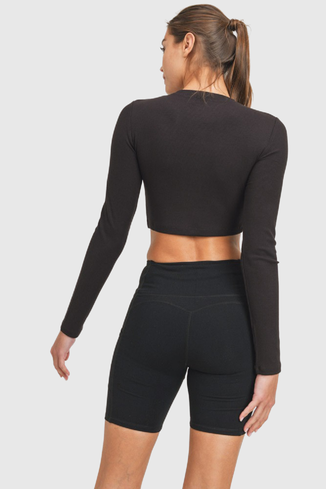 Mono B Ribbed Athleisure Top - Front Full Image