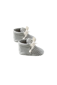 Quincy Mae Ribbed Baby Booties - Eucalyptus Stripe - Alternate List Image