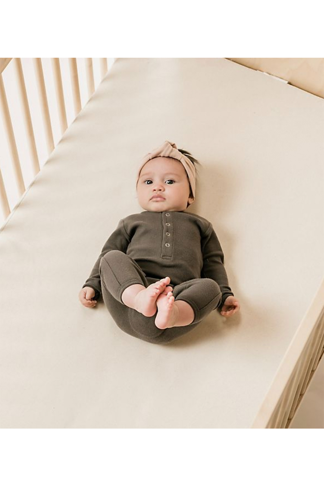 Quincy Mae Ribbed Baby Jumpsuit - Front Full Image
