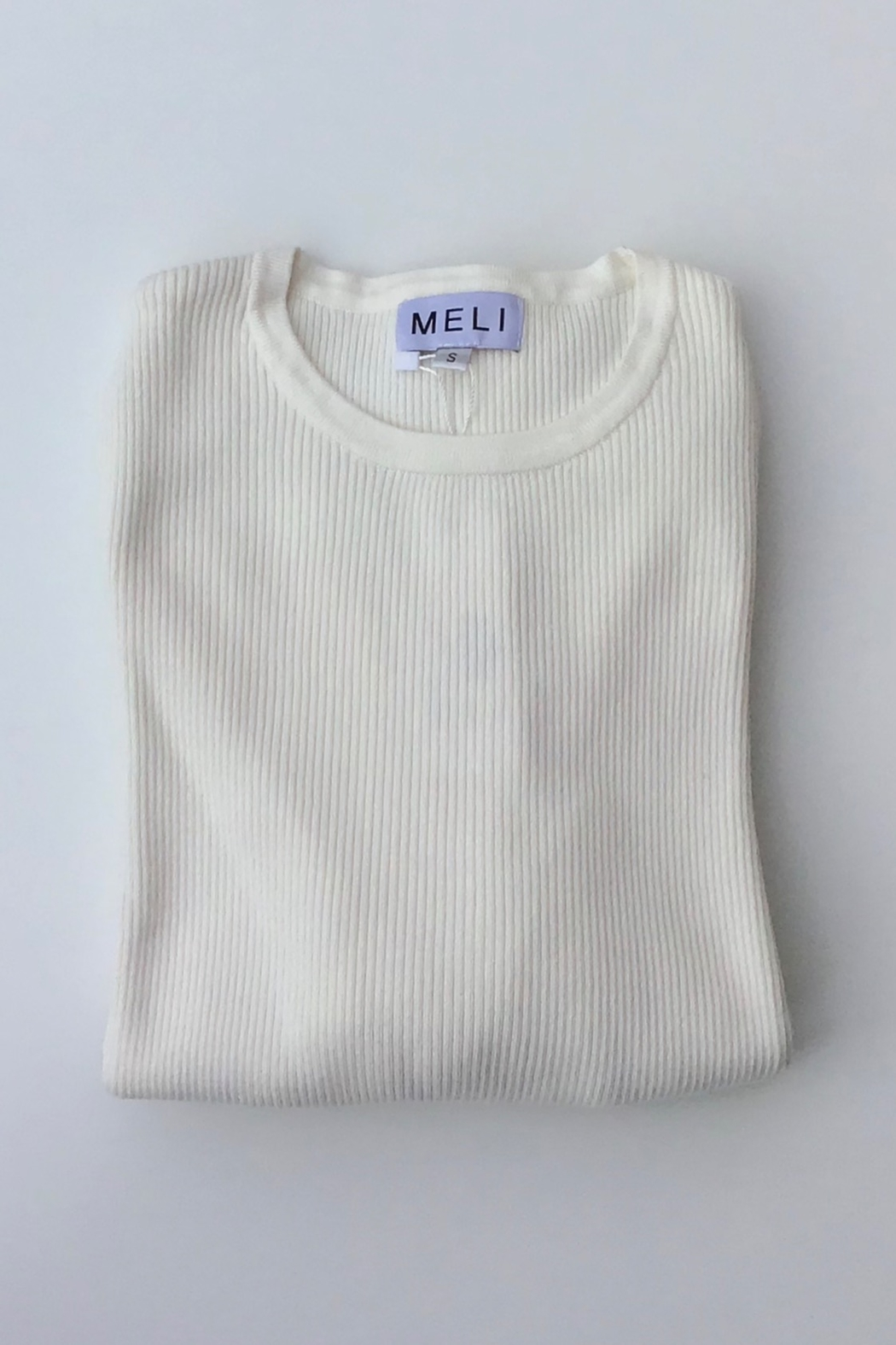 Meli by FAME RIBBED BASIC CREW - Front Cropped Image
