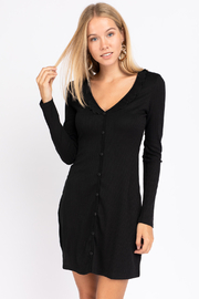 Le Lis Ribbed Black Dress - Front cropped