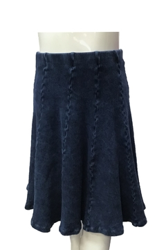 Shoptiques Product: GIRLS Ribbed Blue Mineral Wash Panel Skirt