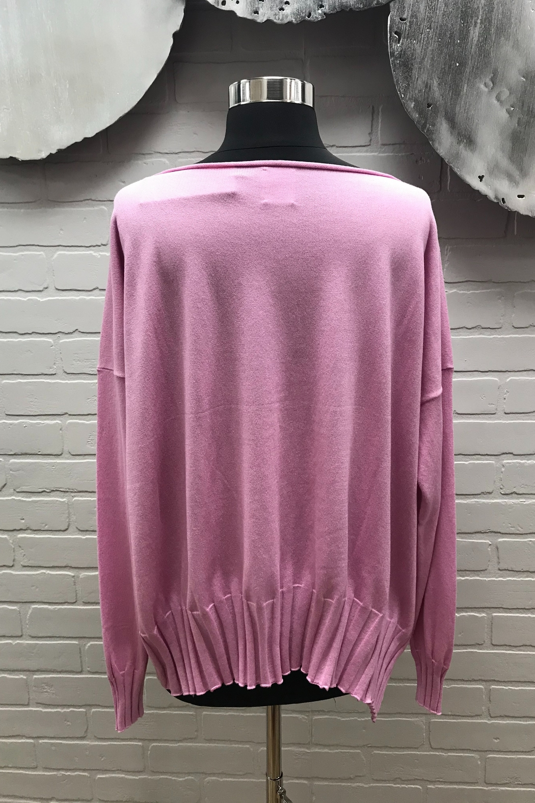 Planet Ribbed Boatneck Sweater - Front Full Image
