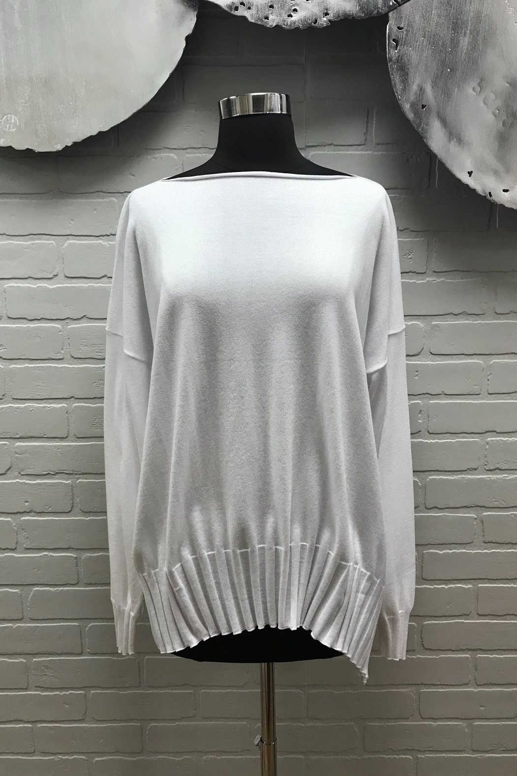 Planet Ribbed Boatneck Sweater - Front Cropped Image