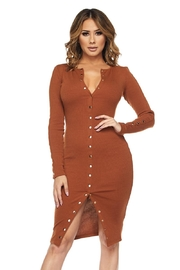 hot and delicious Ribbed Button Dress - Product Mini Image