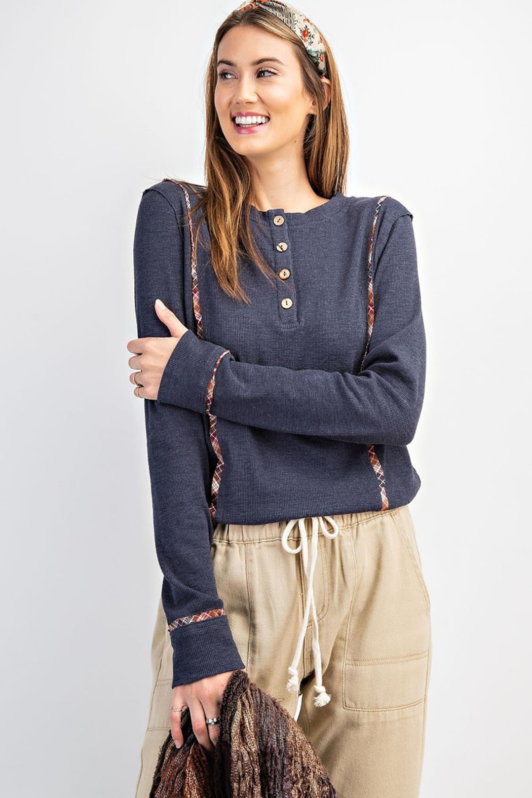 easel  Ribbed Button Front Henley with Plaid Detail - Front Cropped Image