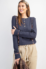 easel  Ribbed Button Front Henley with Plaid Detail - Front cropped