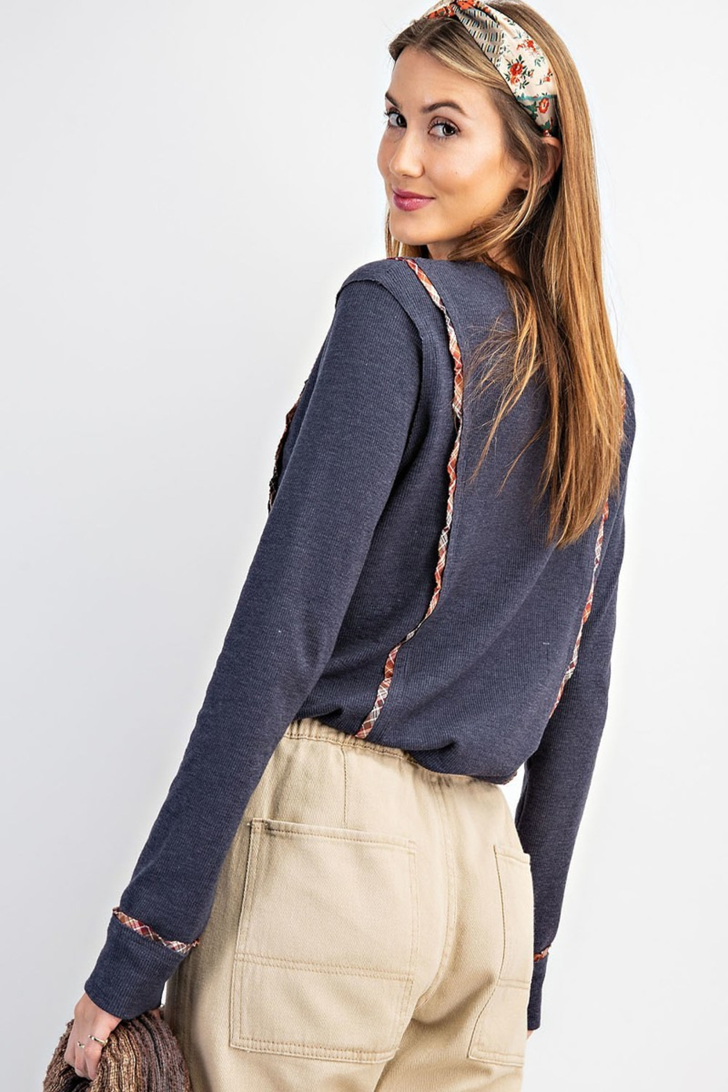 easel  Ribbed Button Front Henley with Plaid Detail - Front Full Image