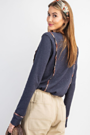 easel  Ribbed Button Front Henley with Plaid Detail - Front full body