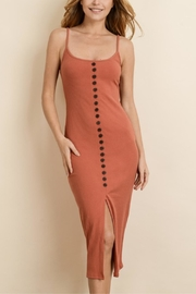 dress forum Ribbed Button Midi-Dress - Front cropped