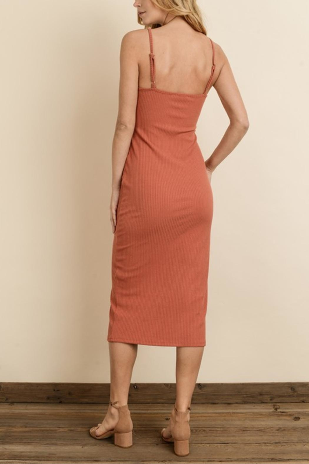 dress forum Ribbed Button Midi-Dress - Side Cropped Image