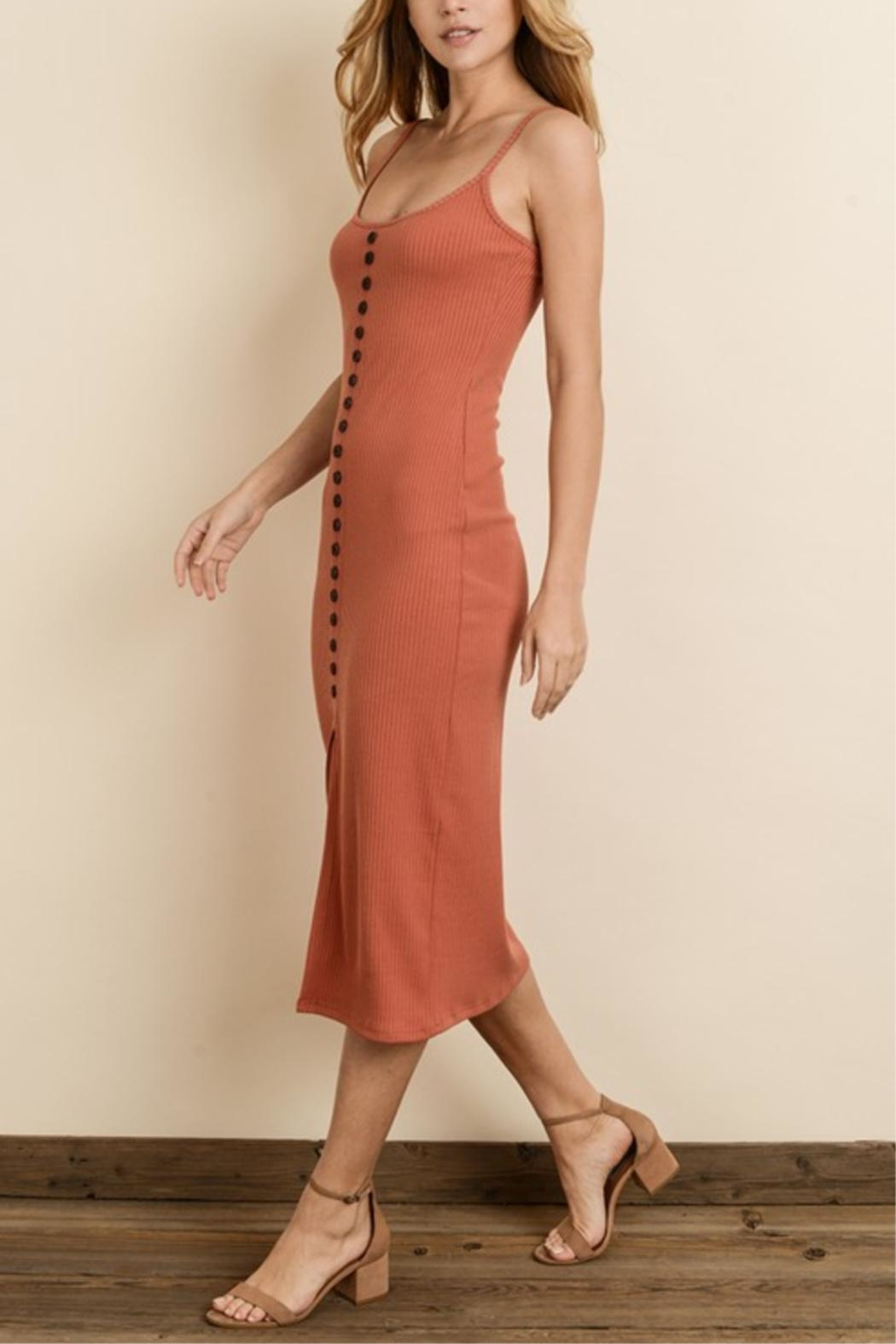 dress forum Ribbed Button Midi-Dress - Front Full Image