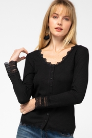 entro  Ribbed Button Up Scoop Neck Top - Product Mini Image