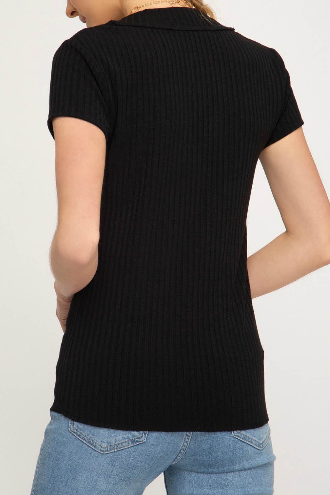 She + Sky Ribbed Button V Neck S/S Top - Front Full Image